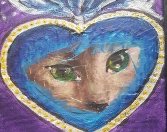 My sacred heart - mixed media 6x6 painting sacred heart cat