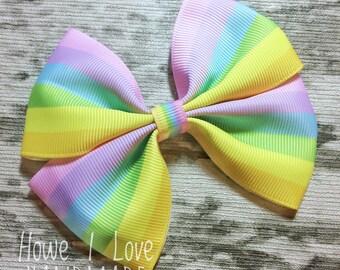 Ribbon bows -Pastel rainbow grosgrain double tuxedo bow- -handmade-