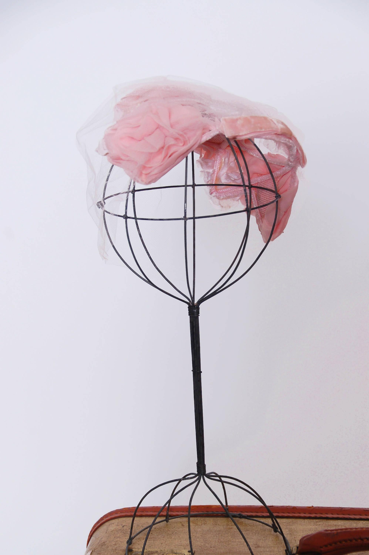 Vintage 50s pink rose fascinator / veil fascinator / hat with ...
