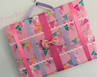Pink new baby bunting  patterned hair bow storage board or holder standard size