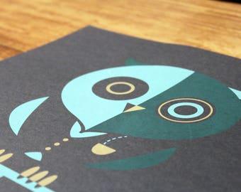Owl Poster - Bike - Bicycle - Animal - Monocle - Art print- Illustration - Classy owl