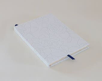 White floral hardcover notebook journal A5 handmade