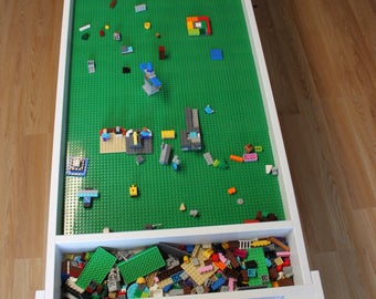 Building blocks table, activity table, kids table, train table, not the trademarked company LEGO® Table with storage, building bricks table