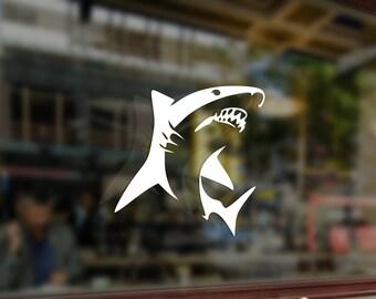 Great White Shark Fish Vinyl Stickers Funny Decals Bumper Car Auto Computer Truck Laptop Wall Window Glass Skateboard Snowboard Helmet