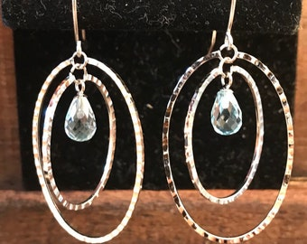 14k white gold chandelier earrings .