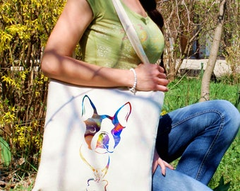 Boston terrier with bone tote -  Dog shoulder bag - Fashion canvas bag - Colorful printed market bag - Gift Idea