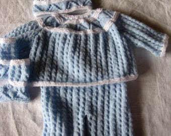 SET top pants booties and hat handmade for newborn or reborn baby
