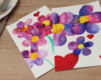 Beautiful flower postcards set of 2 !