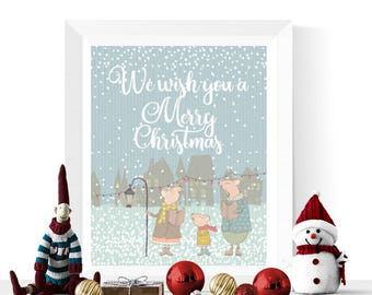 Cute Christmas Printable | We Wish You A Merry Christmas Printable | Christmas Prints  | Christmas Art | Christmas Printables
