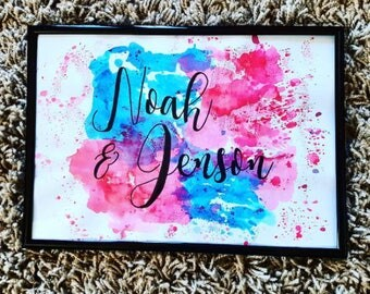 Hand Lettered Watercolour Name