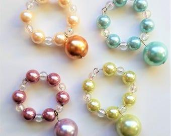 Pastel Pearls Wine Glass Charms ~ Set of 4 ~ pink, aqua blue, chartreuse green, orange