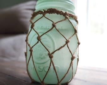 Sea Foam Painted Mason Jar Tea Light Holder - Beach Decor