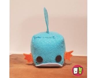 Mudkip Pokemon Cube Plushie - 2 Inch Felt Cube