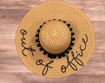 Beach floppy hat l beach hat l floppy hat l floppy hat with pom poms l custom hat