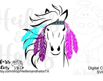 Hippie Horse svg, png, pdf, eps, cut file for cricut, silhouette.  Horse, ranchy, ranch, farm, for t-shirts, decals, yeti cups