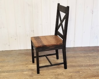 Solid Wood Rustic Farmhouse Chair, X Back Dining Chair, Kitchen Chair, Desk Chair, Choose Your Own Finish