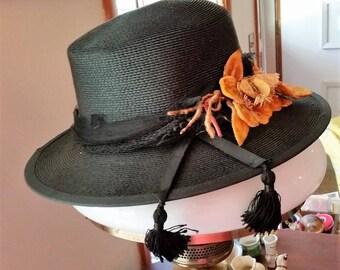 Vintage Ladies Hat with Tassels and Velvet Flowers