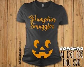 Pumpkin Smuggler SVG  - Maternity Shirt - Baby Bump Halloween Shirt - Vector Files - Silhouette Cut Files - Cricut Cut Files - SVG