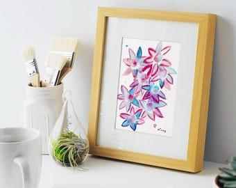 Blooming Blue Red Purple Flowers, abstract art, 5x7 print of original watercolor, great mothers day gift