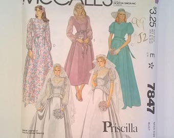 Vintage McCall's Bridal Gown or Bridesmaid Dress Pattern 7847 - Size 12, Bust 34 - Uncut Pattern