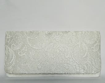 Bridal Clutch Purse, Ivory White Envelope Lace Clutch Purse, Bride's Lace Clutch Purse, Evening Lace Purse, Wedding Clutch