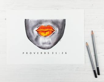Proverbs 31 Art Print, Proverbs 31:26, Face, Art Print, Bible Art, Christian Art, Home Decor, Wall Art, Modern Art, Pencil Sketch, Abstract