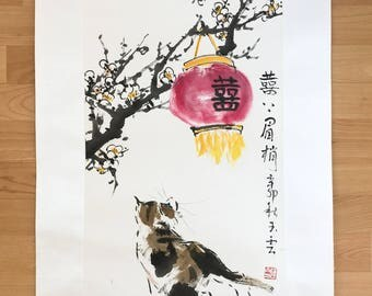 cat and seasonal flower, Chinese Painting, Original Painting, ink painting, watercolor, Decoration, Asian Art,Asian Decor, Oriental Art