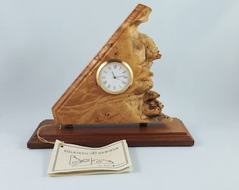 Koletech Designs Burl Table Clock By John Koletic, Hand Crafted Wood Burl Clock, Unique Wooden Clock, Made In Canada