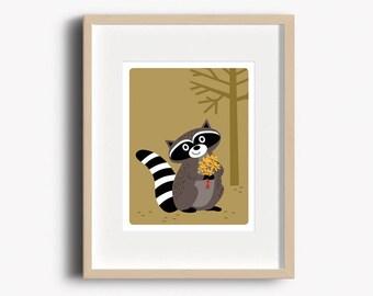Raccoon Art Print - Home Decor - Woodland Nursery - Raccoon Print - Wall Art