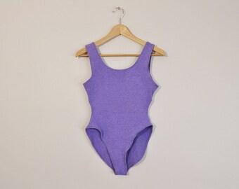 Vintage 90s Bodysuit, High Cut Bodysuit, Cotton Bodysuit, Vintage 90s Leotard, Purple 90s Leotard, Cotton Leotard, Sleeveless Onesie, XL