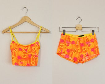 Vintage 90s Bikini, Two Piece Swimsuit, Neon Orange Bikini, Floral Print Swimsuit, 90s Shorts Bikini, Womens Bathing Suit, 90s Bikini Small
