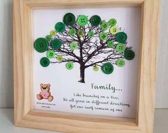 "Framed family tree green leaves button art with printed verse ""Family... like branches on a tree..."", nature inspired art, family tree art"