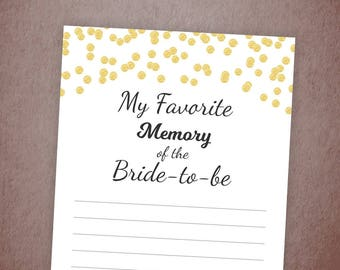 My Favorite Memory of the Bride Printable Card, Gold Confetti Bridal Shower, Instant Download, Bachelorette, Wedding Shower, A001