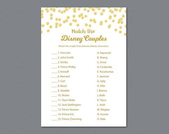 Match The Disney Couples, Disney Couples Match Game Printable, Gold Glitter, Bridal Shower Game, Pair Matching, Wedding Shower, A002