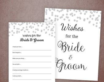 Wishes for the Bride and Groom Card, Silver Confetti Bridal Shower Games Printable, Wedding Shower, Bachelorette Party, Couple Game, A003