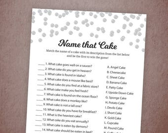 Name that Cake, Guess the Cake, Silver Confetti Name that wedding Cake, Bridal Shower Cake Game, Bachelorette Party, Wedding Shower, A003