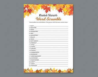 Fall Bridal Shower Word Scramble Game Printable, Autumn Bridal Shower Games, Unscramble, Word Search,Bachelorette, Wedding Shower, A021