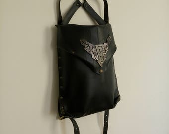 Black hard leather backpack handmade by me :)
