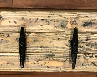 Boat Cleat Towel Rack, Weathered