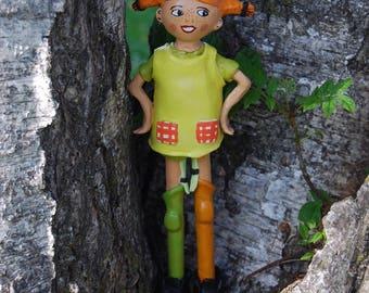 Pippi Longstocking clay statue