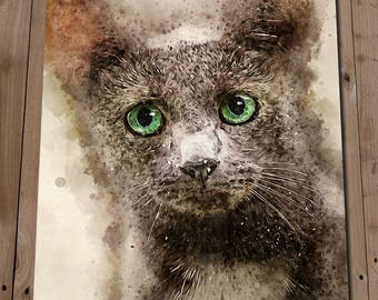 RUSSIAN BLUE CAT Wall Art Print Poster - Wall Decor - Pet Portrait Painting - Animals - Cat - Gift Idea