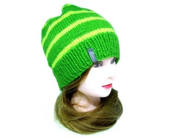 St. Patricks Day Hat, St Patricks Day Beanie, Green Beanie, Green Winter Hat, Green Wool Hat, Warm Winter Hat, Green Striped Beanie, Green