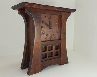 Mission Craftsman Stickley Style Shelf Mantel Clock