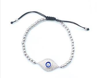 Silver Evil Eye Bracelet, Evil Eye jewelry, evil eye charm bracelet, evil eye beaded bracelet, rose gold bracelet, DB1455/12EAP