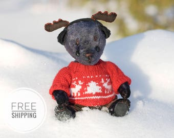 Plush toy bear.Bear gift.Artist teddy bear.Bear gray.Christmas toy Bear.Bear in red sweater.Toy bear handmade.Toy plush bear.New Years Bear.