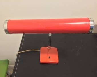 Vintage Art Deco Red Keystone Gooseneck Fluorescent Desk Lamp - Working