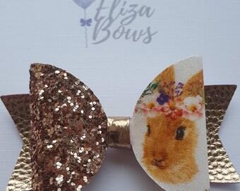 Bunny hair bow, autumn hair bow, fall hair bow, gold hair bow, fall hair bows, baby hair bows, girls hair bow, handmade hair bow