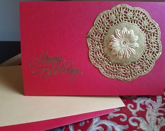 Red Medallion Birthday Card