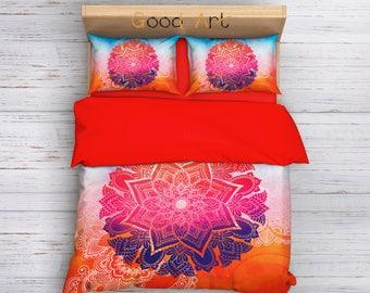 Bohemian Bedding Set, Boho Duvet Cover Set Mandala Bedding, Mandala Duvet Bedding Set, Indie Duvet Cover Set Hippie Bedding