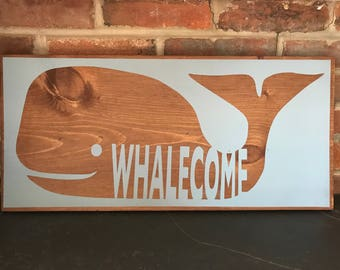 Whale Welcome Sign | Whalecome Sign | Wooden Welcome Sign